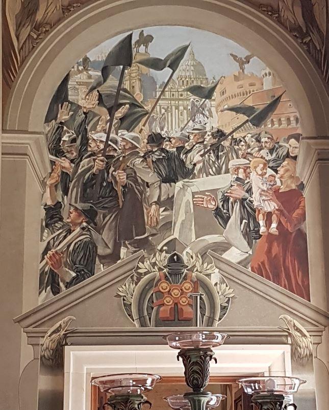 Дуилио Камбеллотти Подъём Победы, правая сторона триптиха, фрески Дворца правительства, Рагуза, Сицилия
