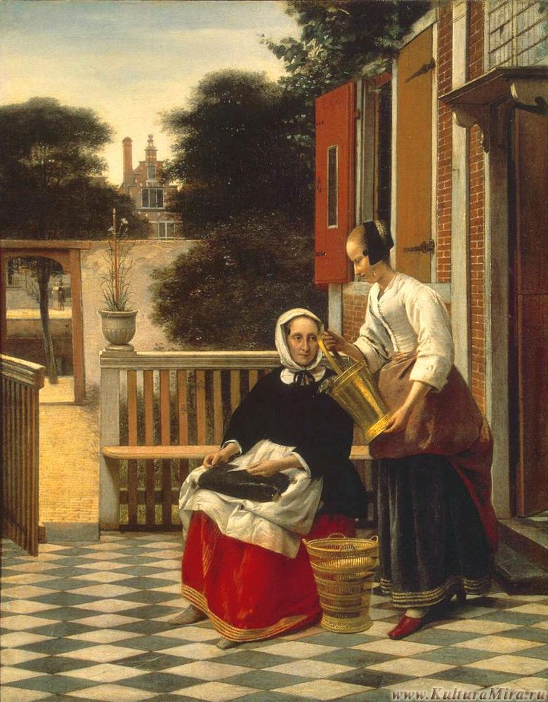 Питер де Хох Хозяйка и служанка во внутреннем дворике