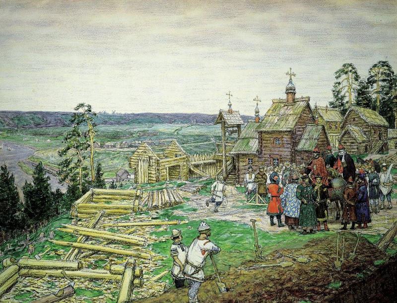 Аполлинарий Васнецов. Основание Москвы. Постройка первых стен Кремля Юрием Долгоруким в 1156 году