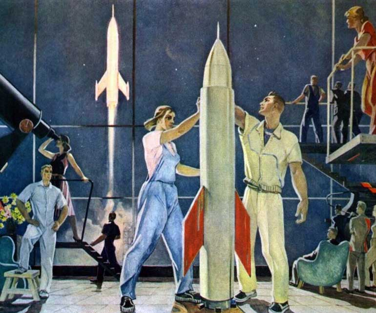 Картина советского художника Александра Дейнеки Покорители космоса