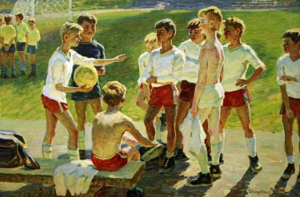 картина советского художника Алексея Солодовникова Футбол