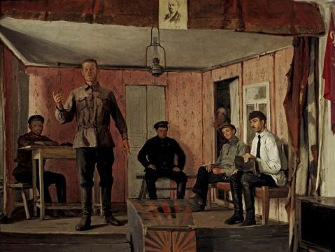 Картина Ефима Чепцова Заседание сельячейки