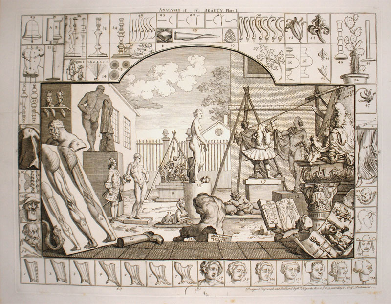 Уильям Хогарт. Двор скульптора. Первая иллюстрация к трактату «Анализ красоты», 1753. Гравюра резцом, офорт