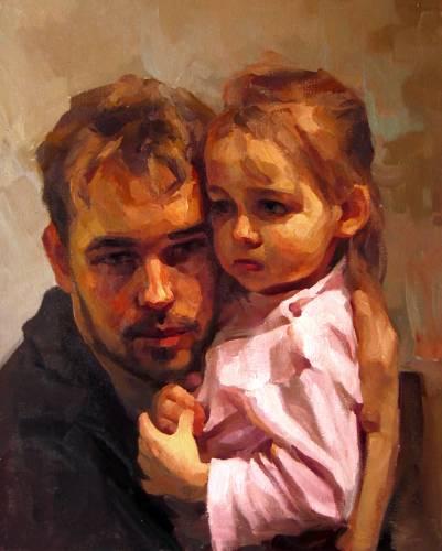 Юрий Прядко. Автопортрет с дочкой