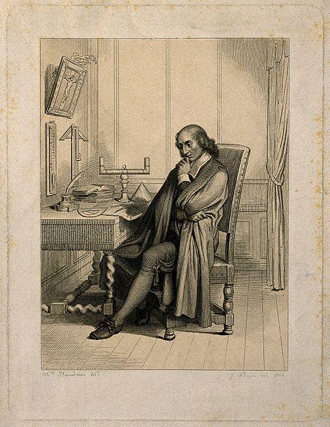Блез Паскаль, сидящий за столом