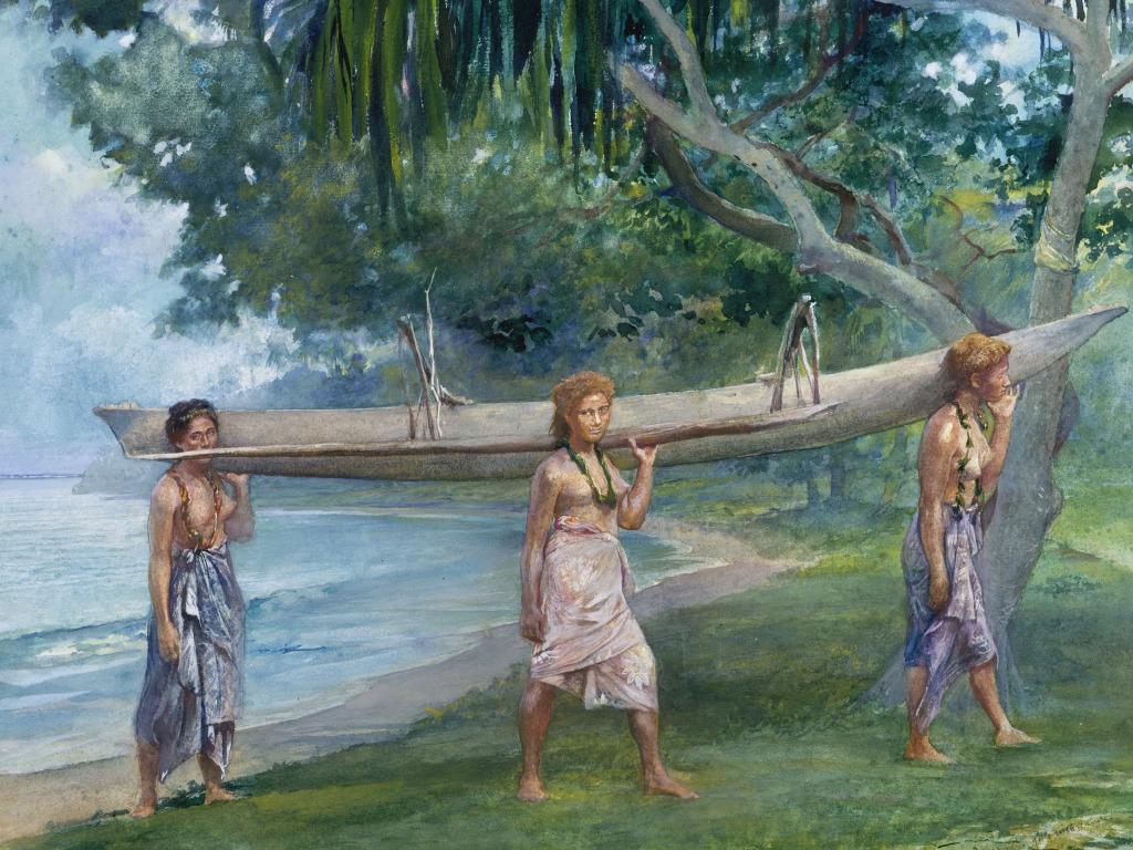 Джон Ла Фарж. Девушки, несущие каноэ. Побережье Самоа