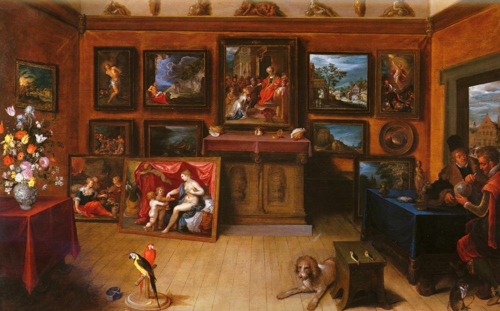 Франс Франкен Младший. Картинная галерея с ученым, производящим измерения