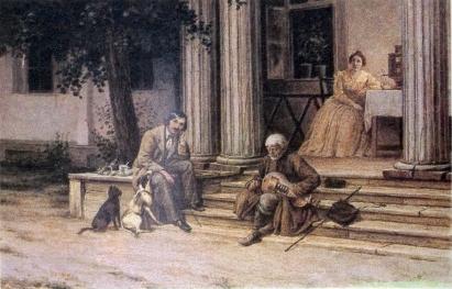 Гоголь в Васильевке слушает бандуриста. Картина В.А. Волкова.