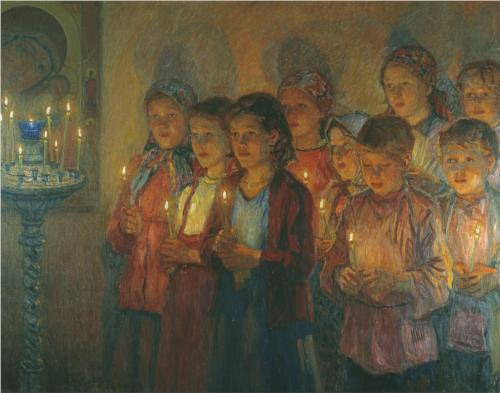 Николай Богданов-Бельский В церкви