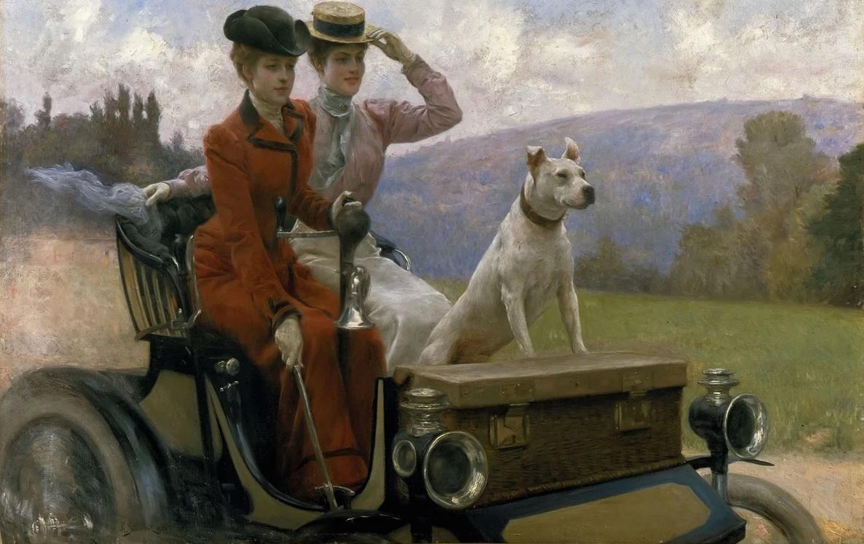 Юлиус Леблан Стюарт. Дамы Голдсмит в Булонском лесу в 1897 году на автомобиле, 1901