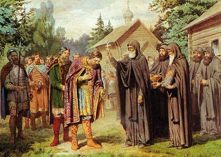 Алексей Кившенко Посещение великим князем Димитрием Сергия Радонежского перед выступлением в поход на татар