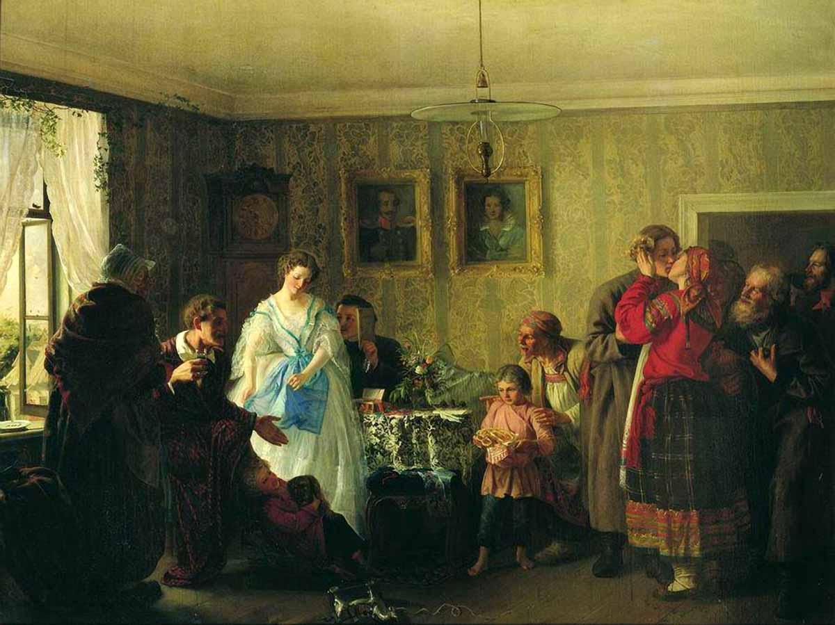 Григорий Мясоедов Поздравление молодых в доме помещика