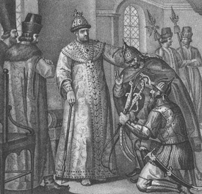 Царю Иоанну IV вручают трофеи, взятые у Девлет-Гирея князем Воротынским. 1572 год. Гравюра Б. Чорикова. XIX в.