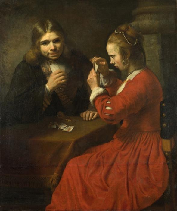 Рембрандт Юноша и девушка, играющие в карты