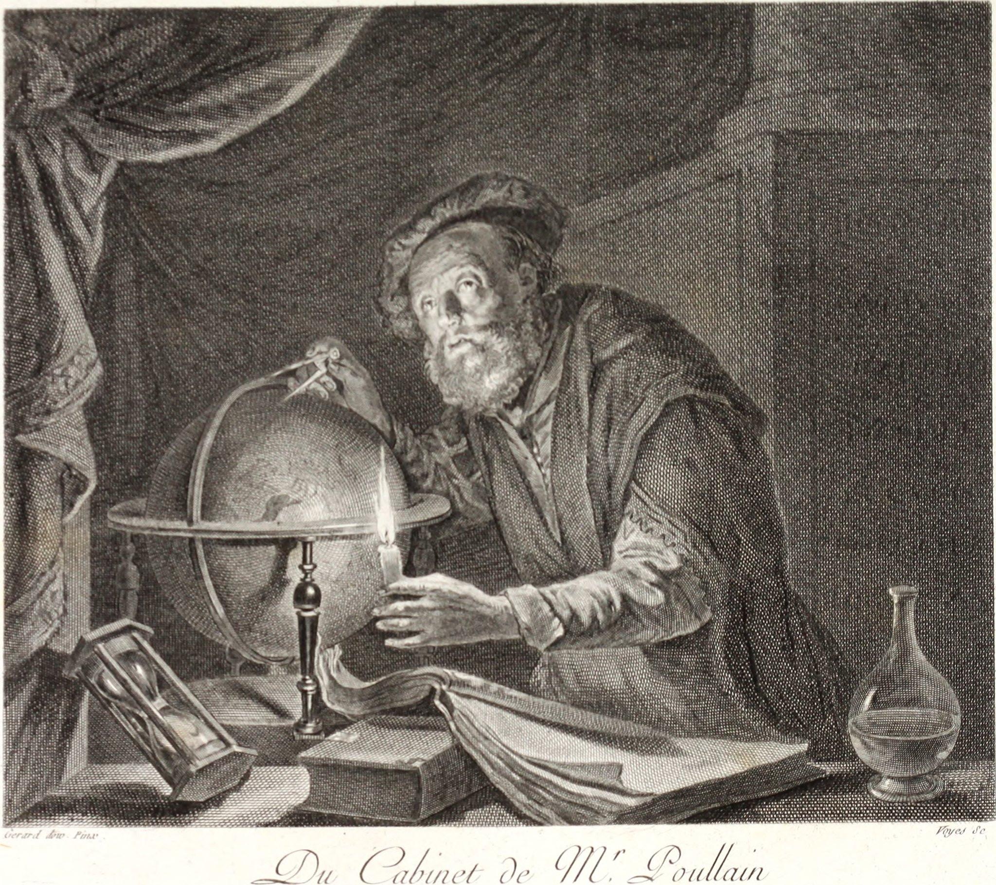 Астроном. Гравюра Войе (Voyes) по картине Герарда Доу
