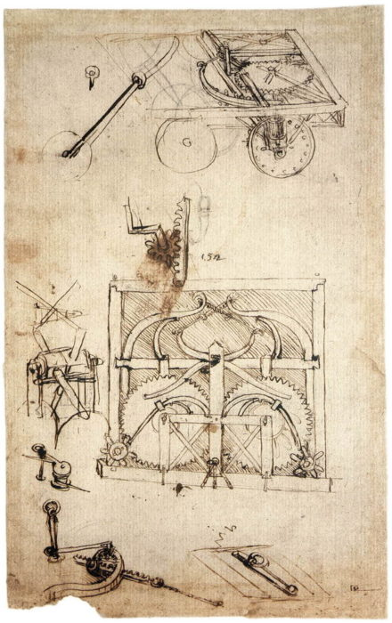 Леонардо да Винчи. Эскиз самодвижущейся тележки