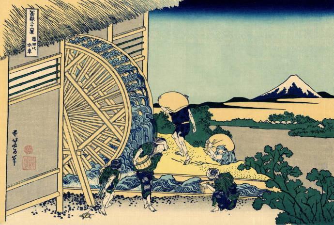 Кацусика Хокусай Водяное колесо в Ондэн