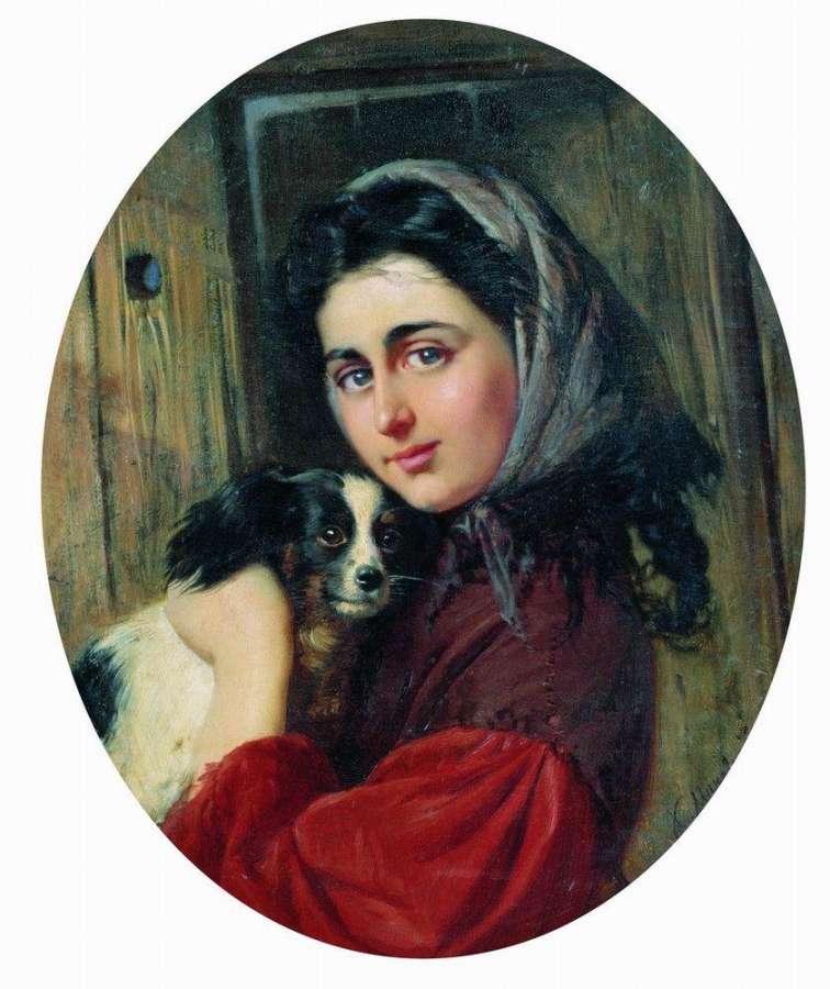 Константин Маковский (1839 - 1915) Девушка с собакой