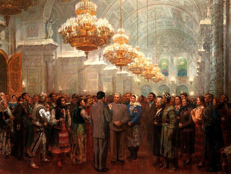 Б. Иогансон И.В. Сталин среди народа в Кремле
