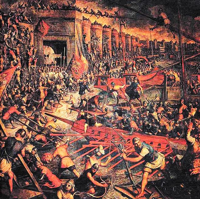 Штурм крестоносцами стен Константинополя в 1204 году
