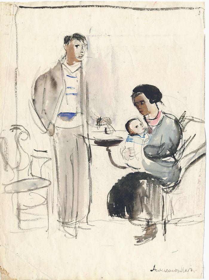 А. Лабас. Автопортрет с семьёй. 1933. Бум., акварель. Собрание семьи художника
