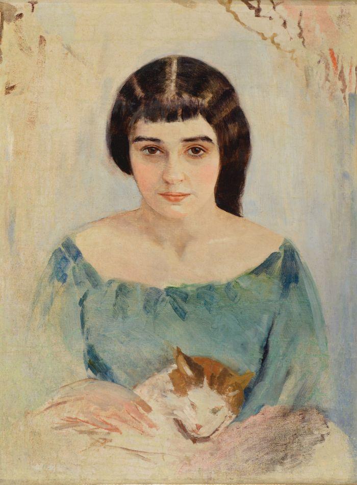 И. Пэн. Две кошечки (портрет Раисы Идельсон). 1908. Х.м. Из собрания Алисы Лабас