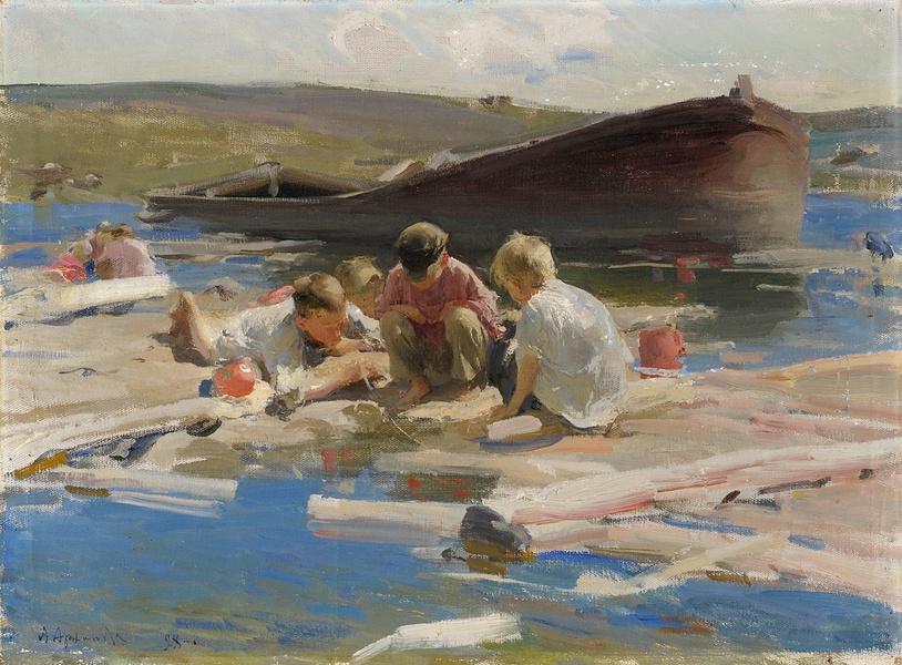 Абрам Архипов Дети, играющие на берегу