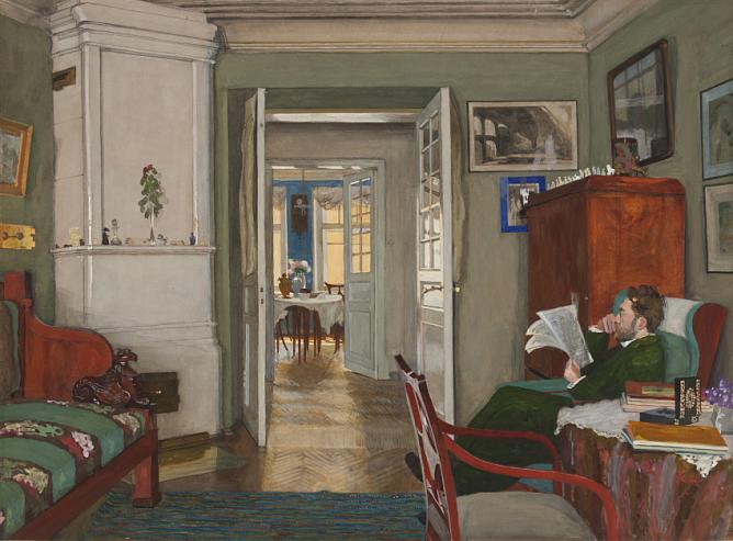 А.П. Остроумова-Лебедева. С. В. Лебедев в своем кабинете. 1912