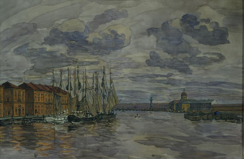 А.П. Остроумова-Лебедева. Вид с Тучкова моста в Петербурге. 1912