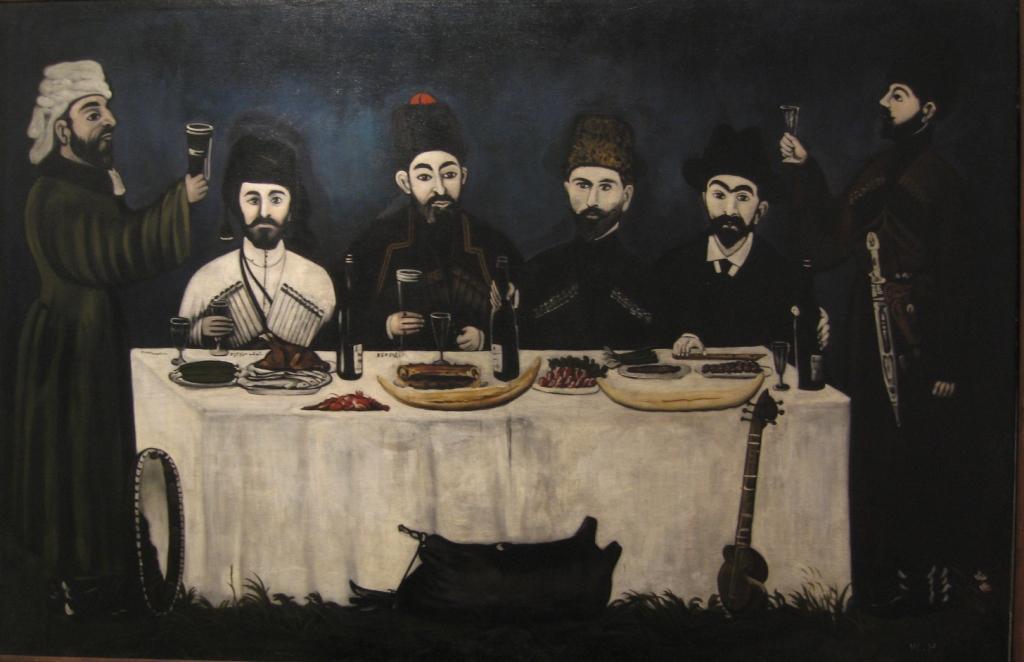 Нико Пиросмани. Пир. 1910-е. Клеенка, масло. Из собрания Московского музея современного искусства