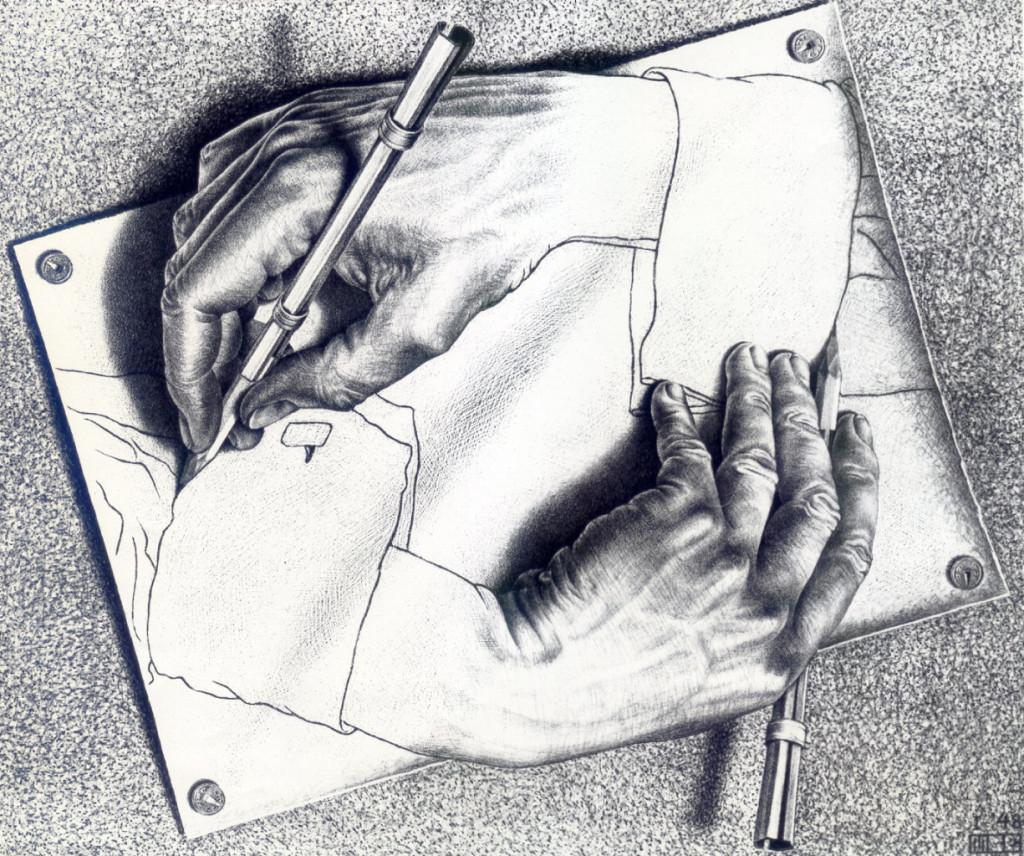 Мауриц Эшер. Рисующие руки, 1948