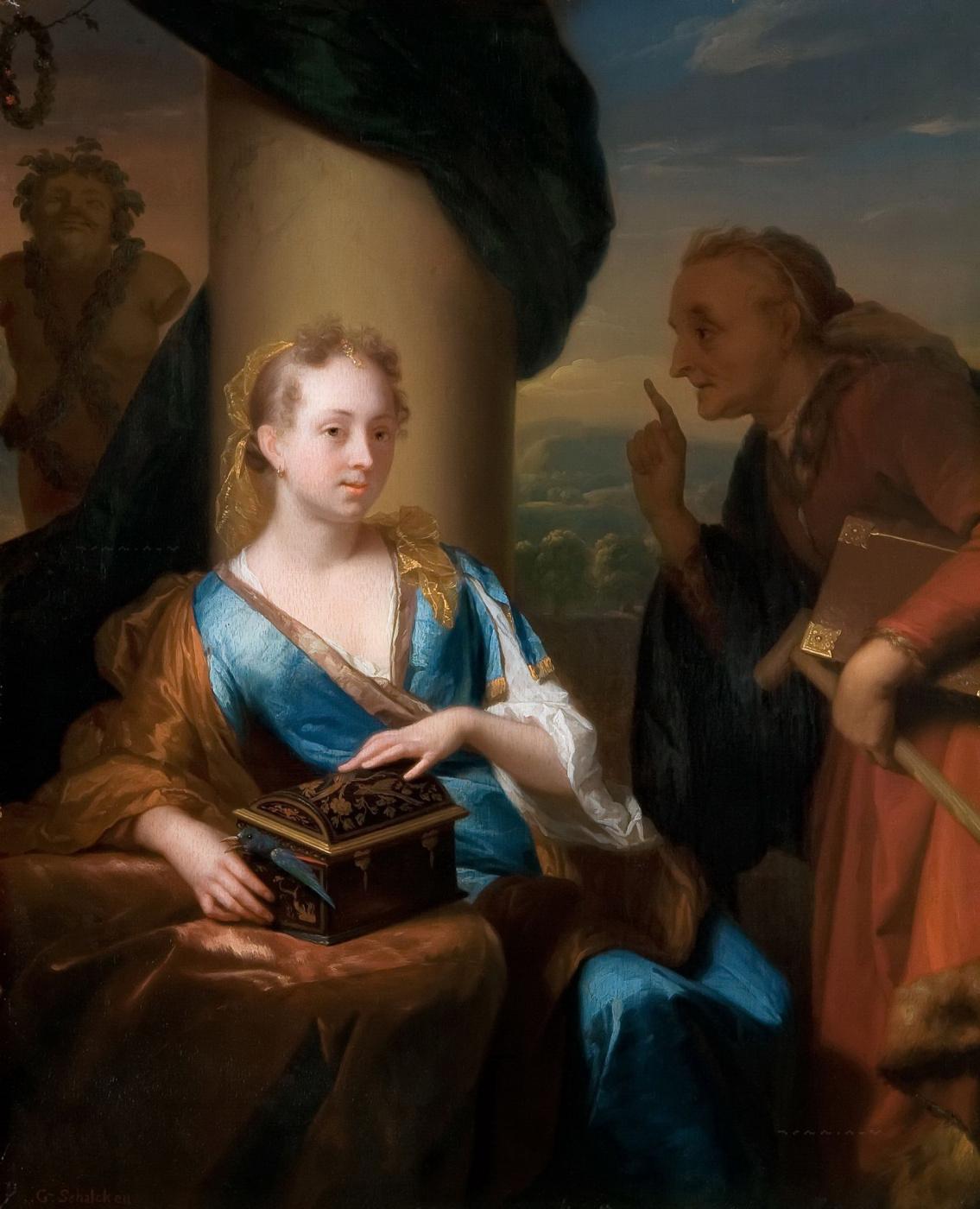 Годфрид Схалкен, Старуха, читающая мораль, ок. 1670-80