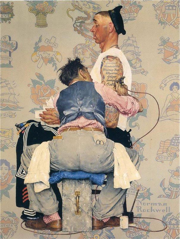Норман Роквелл. Татуировщик. Обложка для журнала ''The Saturday Evening Post'' (4 марта 1944)
