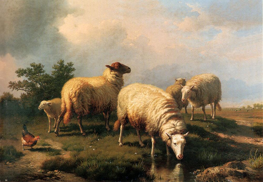 Эжен Жозеф Вербукховен (1799-1881) Пейзаж с овцами и курицей