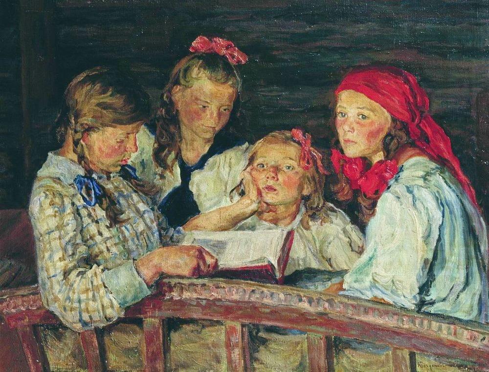 Н.П. Богданов-Бельский За книжкой