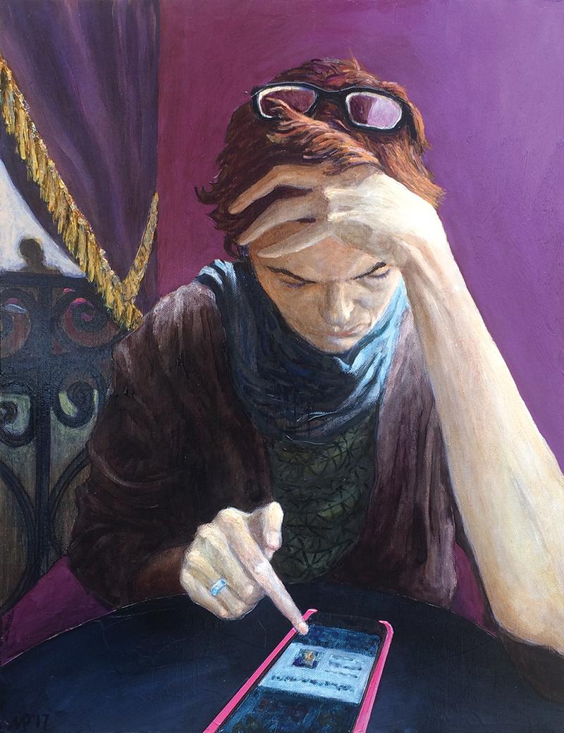 Рубен Монахов Девушка со смартфоном, 2017