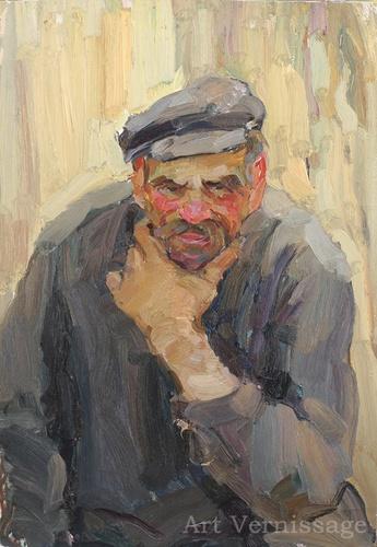 Юрий Лежников Портрет старика, 1964