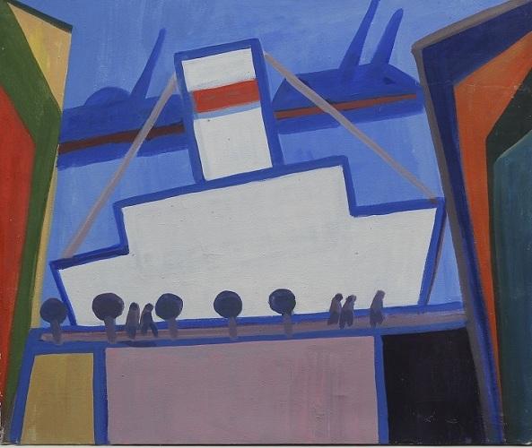 Н.Жилина. Корабль на 19 линии. 2003.Х.м. 50х60