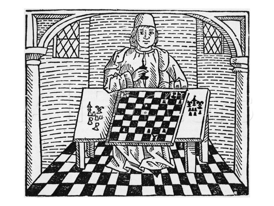 Монах решает шахматную задачу. Гравюра XV века
