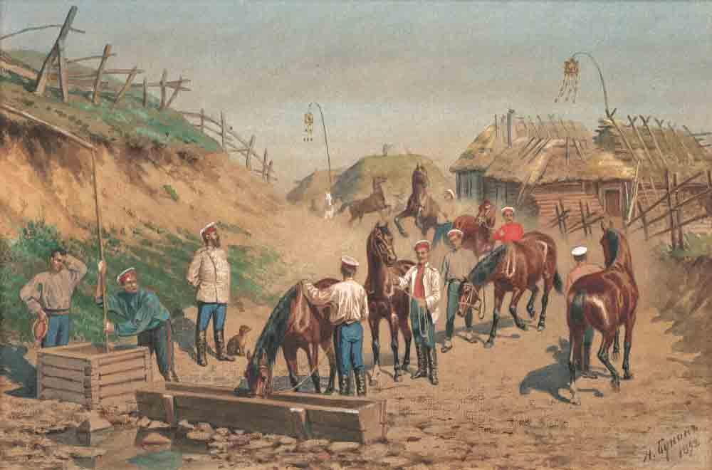 Бунин Н.Н. Утро кавалеристов, 1892. Бум., накл. на картон, акварель, белила. 19,2x28,9 см