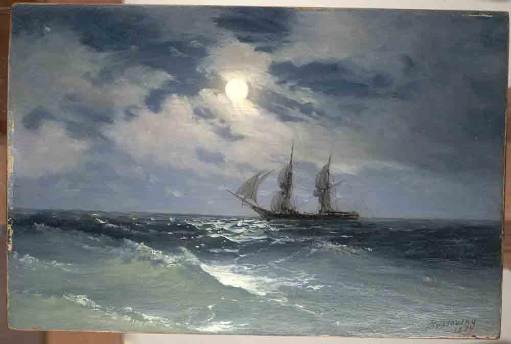 Айвазовский И.К. Парусник на море в лунную ночь, 1874. Дерево, масло. 14,5x21,7