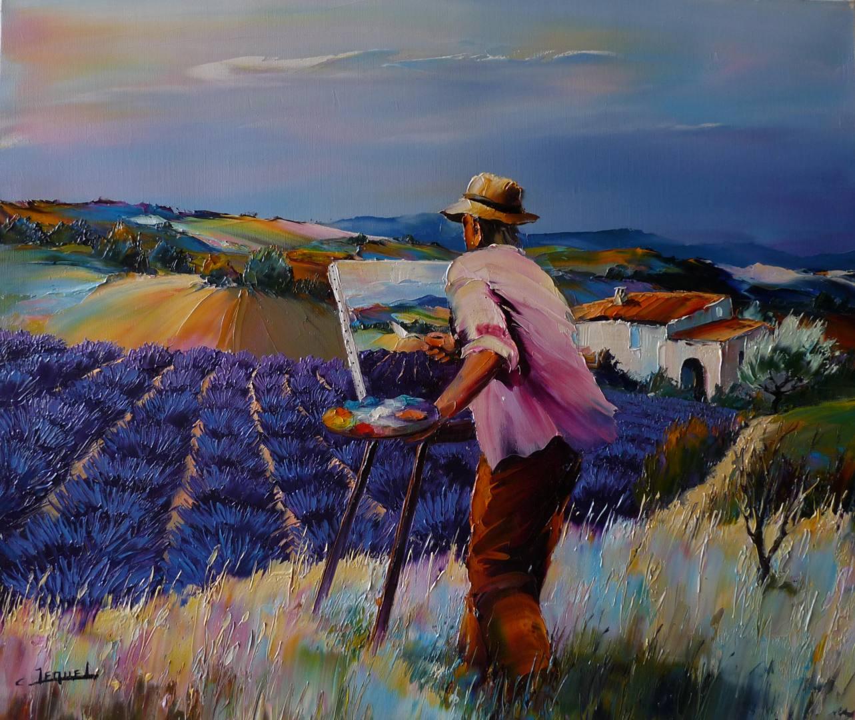 Peintre au champ de lavandes Christian Jequel