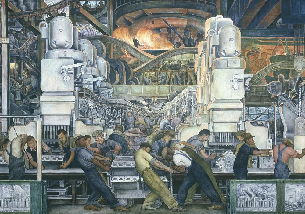 Диего Ривера Индустрия Детройта, фрагмент фрески Северной стены, 1932-1933