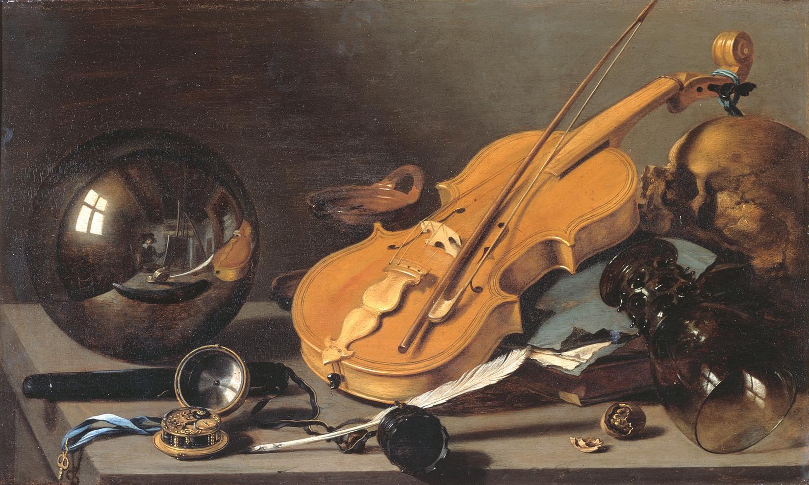 Питер Клас Vanitas with Violin and Glass Ball