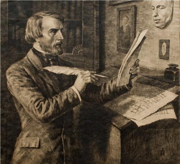 В.Г. Белинский в своём кабинете. Офорт О. Дмитриева. 1948
