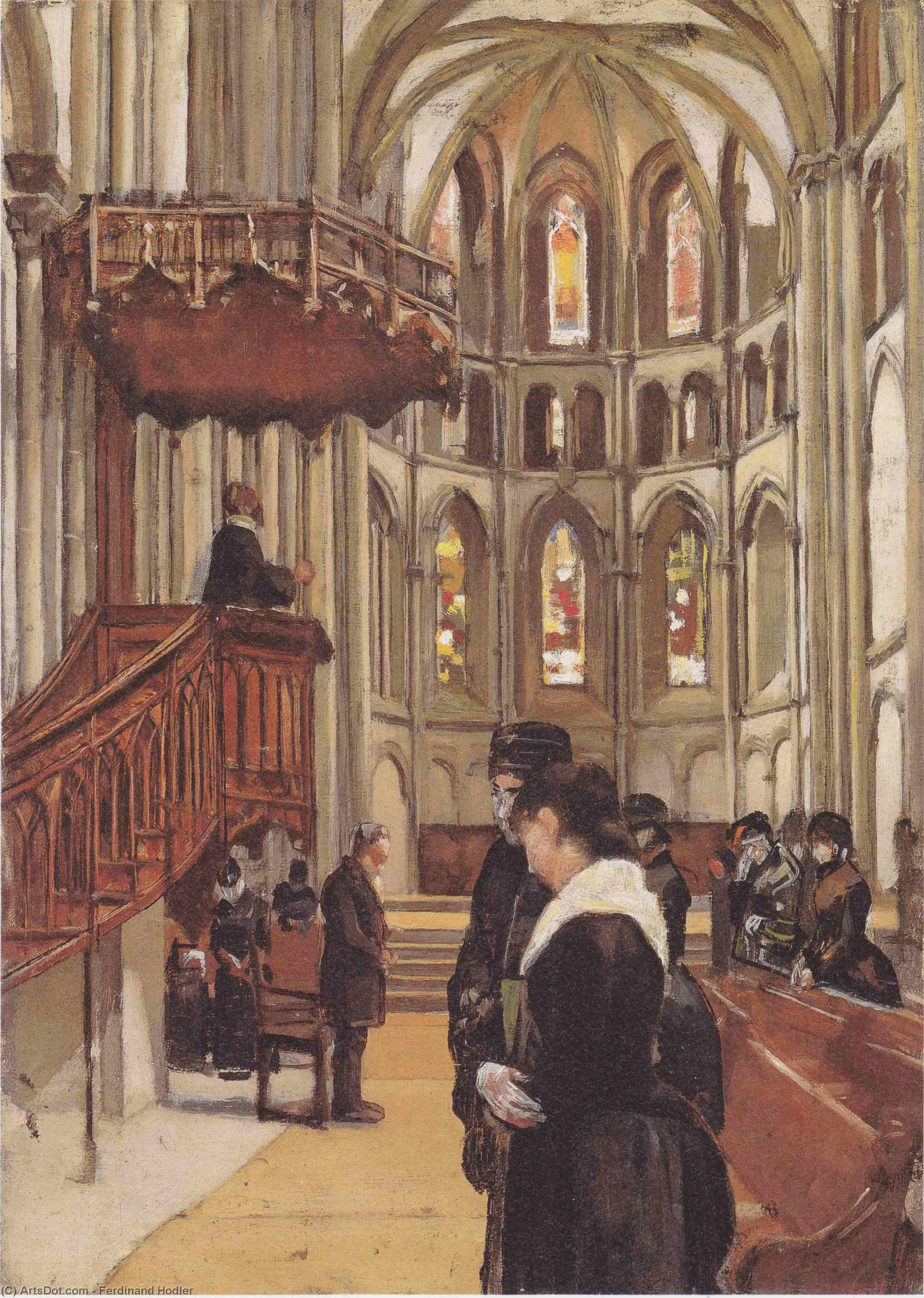 Фердинанд Ходлер Молитва в соборе Сен-Пьер в Женеве