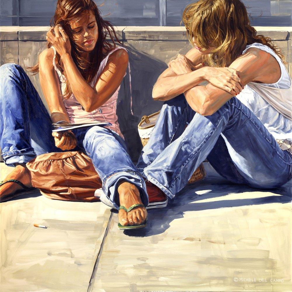 Мишель дель Кампо Девушки, сидящие с книгой