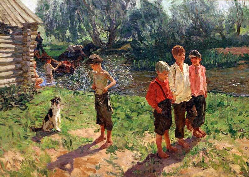 Картина художника Аркадия Пластова Тройка (Ребятишки у реки)