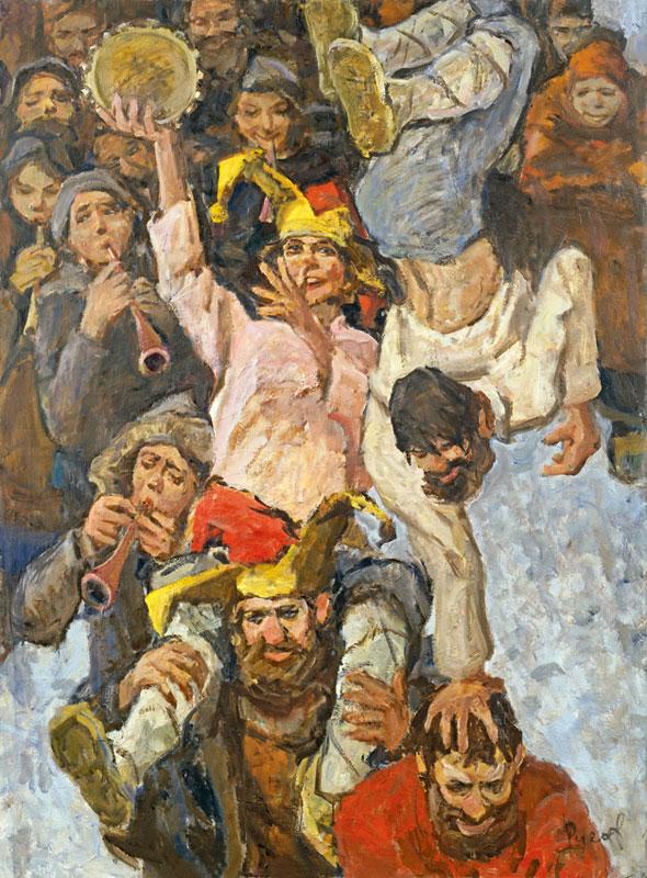 Картина художника Льва Русова под названием Скоморохи