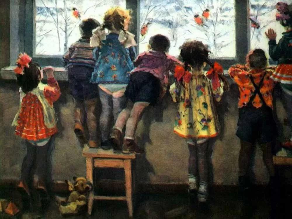 Картина художника Николая Ульянова Снегири